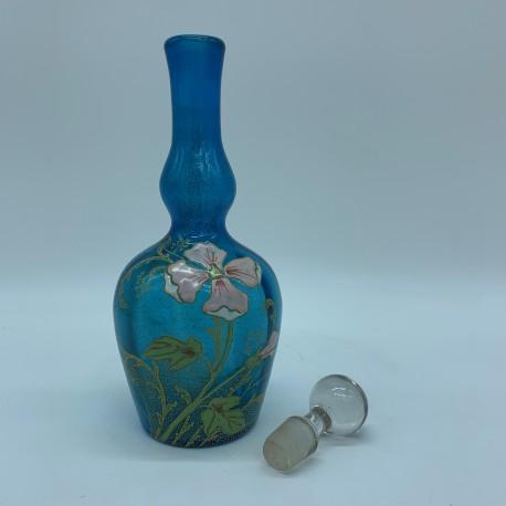 Bouteille carafe en verre emaillé Style Periode Art Nouveau Legras