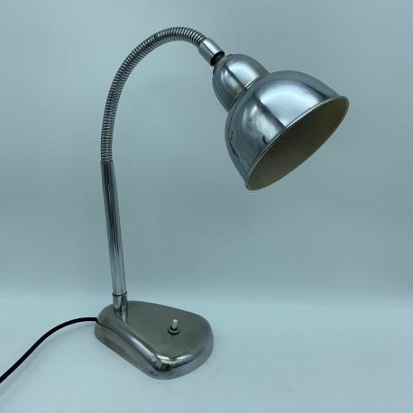 Lampe de bureau industrielle flexible metal alu chromé 1950 no Jielde Gras