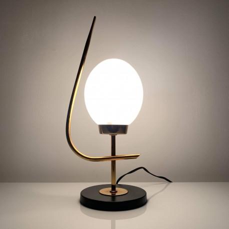 Lampe de table arlus acier doré et noir mat globe opaline mat DLG lunel vintage