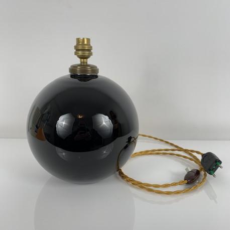 Pied de lampe Boule opaline noire DLG Jacques Adnet Art Deco