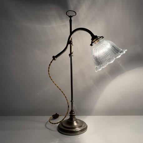 Lampe bureau style 1900 abat jour verre holophane Vallérysthal (no gras jielde)