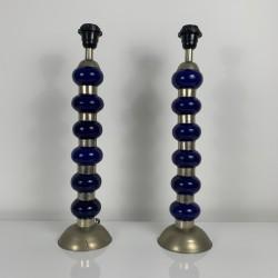 Paire de lampes en céramique bleue et métal décor boule vintage 1970 1980