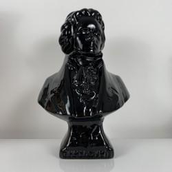 Buste en céramique emaillé noir Beethoven Design vintage 1980