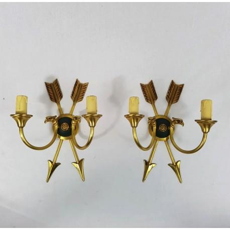 Paire d'appliques style empire en bronze doré a décor de fleches et d'aigles