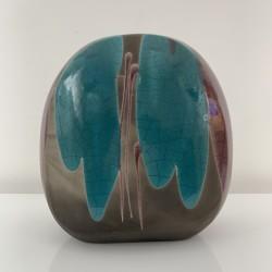 Vase lenticulaire Tony Evans Californie vers 1980 céramique Raku