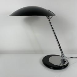 Lampe de bureau en métal chromé et peinture noir Aluminor vintage