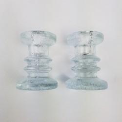 Paire de bougeoirs verre épais scandinave