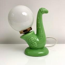 Lampe saxophone vintage céramique verte boule opaline 1970 1980