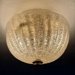 Plafonnier ancien Murano verre avec inclusion or doré Barovier Toso