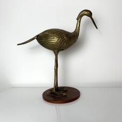 Sculpture sujet vintage oiseau heron en laiton