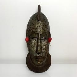 Masque africain Marka du Mali bois scuplté et feuilles de laiton