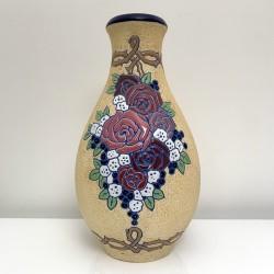Vase Amphora décor floral Tchecoslovaquie 1930