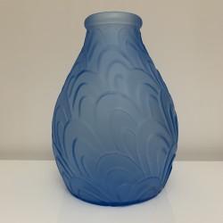 Vase Art Deco SARS verre bleu
