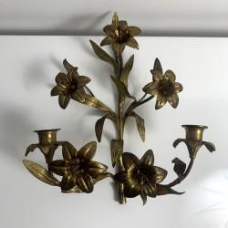 Applique chandelier bronze doré ancien église decor de fleur lys