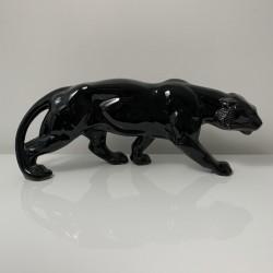Tigre en céramique noire de style Art Deco