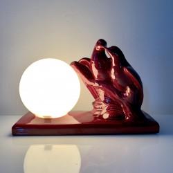Lampe veilleuse céramique bordeaux couple de colombes Art Deco