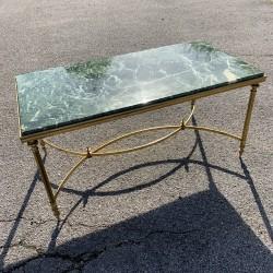 Table basse néoclassique laiton doré et marbre vert