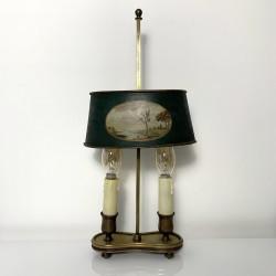 Lampe bouillotte bronze et  fer peint decoré french antique empire