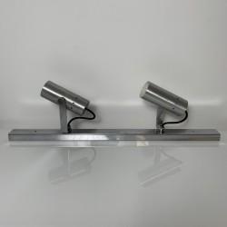 Rampe spot appliques tuyau métal chromé et alu brossé DLG Alain Richard