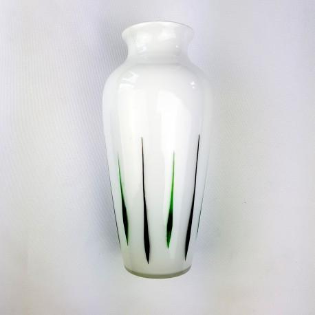 Petit vase en verre motifs colorés style 1950