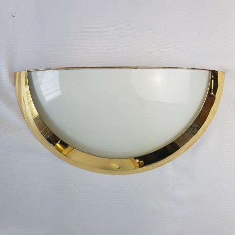 Paire d'appliques soucoupe acier doré de style Art Deco