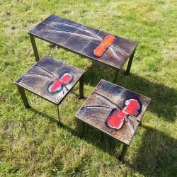 Ensemble de 3 tables basses gigognes avec plateau en céramique
