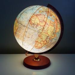 Globe terreste Danois Vintage Pied teck et carte papier