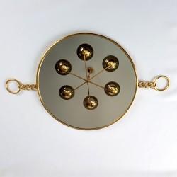 Miroir de barbier circulaire endacrement doré et chaine